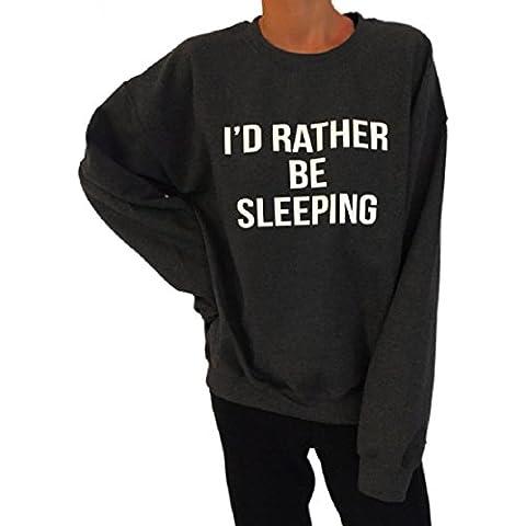 OverDose Señoras de las mujeres de impresión de letras suéter manga larga jersey suelto camiseta top de la
