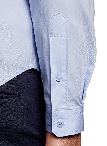 oodji Ultra Homme Chemise Basique de Coupe Ajustée Bleu (7000N)