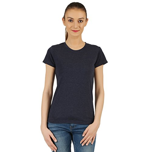 T-Shirt.ind.in Casual FINE Womens Dark Navy Melange Round Neck T-Shirt  available at amazon for Rs.170