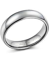 SWEETV Wolfram Ringe für Männer Poliert Eheringe Trauringe Verlobungsringe Hochzeit Schmuck 6mm/8mm Größe 49-70