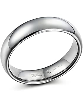 SWEETV 6mm Wolfram Carbid Ringe Hochzeit Schmuck Poliert Eheringe Trauringe Verlobungsringe Größe 49-70