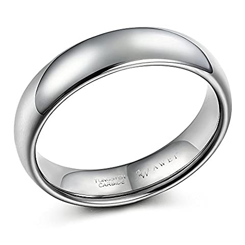SWEETV Tungsten Rings for Men Dome Polished Comfort Fit Anniversary/Engagement/Wedding Band Ring 6mm, Size