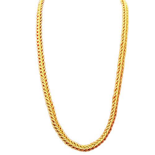 DX.OPK Herren Kette Gelbgold 24 Karat 10MM Breit Kordelkette Seilkette 24K Gold Vergoldet Halskette - Doppeldrachen Verschluss, 60cm