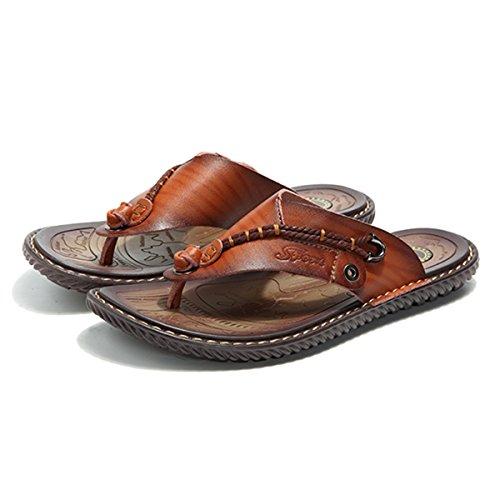 Gracosy Flip Flops, Unisex Zehentrenner Flache Hausschuhe Pantoletten Sommer Schuhe Slippers Weich Anti-Rutsch T-Strap Sandalen für Herren Damen (Hersteller-Größentabelle IM Bild Beachten) Braun