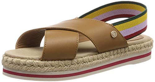 Tommy Hilfiger Colorful Rope Flat Sandal, Infradito Donna, Marrone (Summer Cognac 929), 37 EU