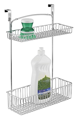 mDesign Estantería colgante para cocina y productos de baño – Práctico organizador de armario en acero con dos estantes – Estantería para colgar en la puerta de los armarios de cocina – cromado
