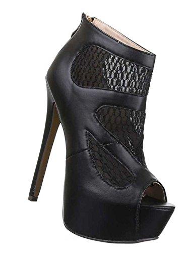 Damen-Schuhe Pumps | Frauen High Heels mit Plateau und 15 cm Stiletto-Absatz in verschiedenen Farben und Größen | Schuhcity24 | Sandaletten mit Reißverschluss | Peep Toe Schwarz