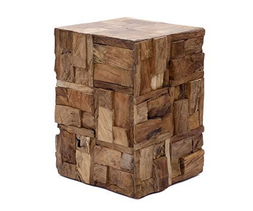 Brillibrum - Tavolino da Salotto in Vero Legno, Quadrato, con Blocco in Legno, 45 cm