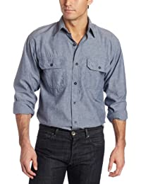 Key Apparel Men's Pre-Washed Blue Chambray Work Shirt, Long Sleeve