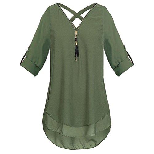 Damen Bluse Xiantime Damen V-Ausschnitt Reißverschluss Reine Farbe Chiffon T-Shirts beiläufige lose Tops Tunika Bluse S-3XL