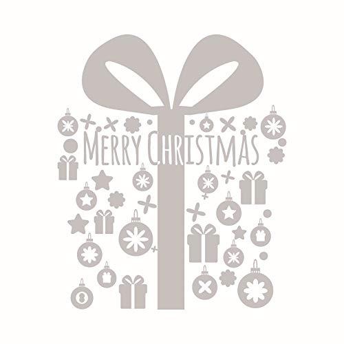 Weihnachten Wandaufkleber Schaufensteraufkleber Weihnachtsschmuck Grüne Wandaufkleber Kreative Einfachheit Hellgrau 56 * 68Cm