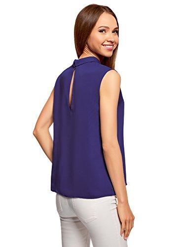 oodji Ultra Damen Ärmellose Bluse Basic mit Kragen Blau (7502N)