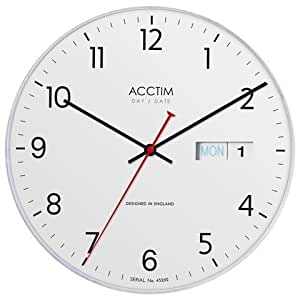 acctim 22222 horloge murale quartz en plastique avec jour et date jour date diam tre 280 mm. Black Bedroom Furniture Sets. Home Design Ideas