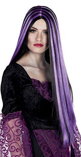 Parrucca lunga strega iona, viola/nero