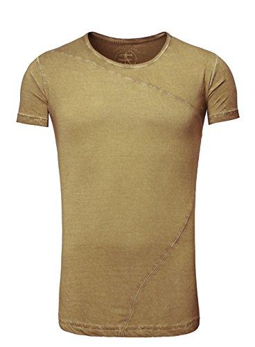 T-Shirt Shirt Herren Long Männer Rundhals kurzarm Oliv