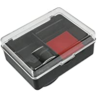 Plástico Inkpad Stamper sello de la caja de almacenaje titular de contenedores, Negro