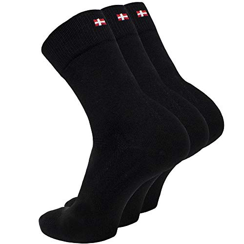 DANISH ENDURANCE Bambus Socken 3 Paare (Schwarz, EU 43-47)