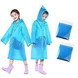 Acidea Kinder Regen Poncho PVC Leicht Mädchen Jungen Regenmantel mit Kapuze und Ärmeln Ideal für Camping, Reisen und Outdoor Aktivitäten (2 Pack)
