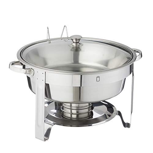 METRO Professional Speisenwärmer mit Glasdeckel   rund   5 Liter   Chafing Dish   Warmhaltebehälter Edelstahl   Rechaud   Buffetwärmer   Wärmebehälter   für gewerblichen Einsatz -