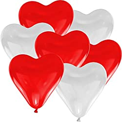 Red & White Heart Shape Balloons For Party , Festival , Wedding , Birthday, Baby Shower Decoration & New Year , Cristams , Velentine's Day Celebration Pack Of 50