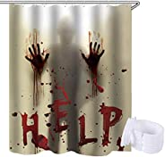 Lansian Horror Shower Curtain for Halloween Decoration Waterproof Bathroom with Curtain Rings
