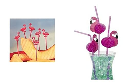 Pink FLAMINGO Luau PARTY Decor - 24 STRAWS & 72 FOOD/Appetizer PICKS -TROPICAL PARTY Decorations by FX