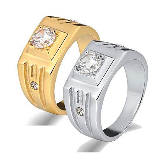 Amody 1 Paar Hochzeitsringe Paar Edelstahl Silbergold Ring mit Zirkonia Freundschaftsringe Paar Frauen 65 (20.7) Männer 57 (18.1)