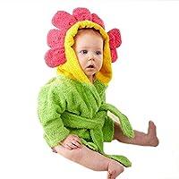 kuou Children Bath Towel, Cotton Sun flower Pattern Kids Robe Beach Swimming Hooded Poncho Boys and Girls
