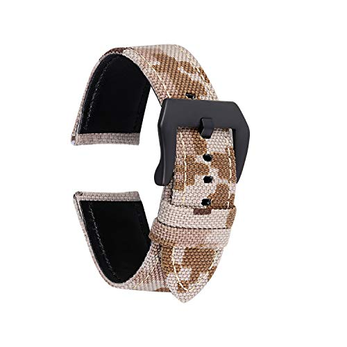 Straps Guy 20 mm und 22 mm Cordura Canvas Ballistic Nylon Quick Release Uhrenarmband mit Camouflage Camo Muster, Unisex-Erwachsene, Desert Camo, 22 mm Samsung Galaxy S3 Camo