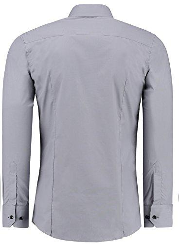 Jeel Herren Hemd Langarm Slim Fit / Figurbetont in schwarz, weiß,rot, gelb, blau uvm. Grau/Schwarz