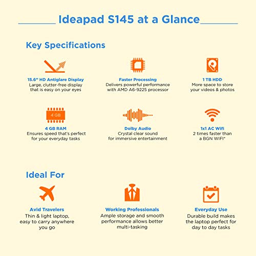 Lenovo Ideapad S145 AMD A6-9225 15.6 inch HD Thin and Light Laptop (4GB/1TB/Windows 10/Grey/1.85Kg), 81N30063IN Image 2