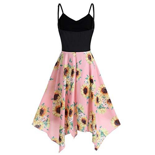 LSAltd Sommer Frauen Sweet Sunflower Print Unregelmäßiger Rand Plus Größe Backless Chiffon A-Line Taschentuch Kleid (Chiffon Taschentuch Kleid)
