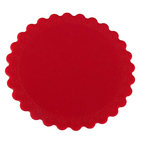 Rose Garden Bar Table (DDLLJ Round Rose-Rand - Silikon - Silikon - Untersetzer 6Er Set Wasserdicht Anti-Rutsch - Matte Meal Beständig Temperaturwärmeisolierung Rot)