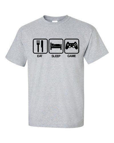 Eat Sleep Game T-Shirt Grau