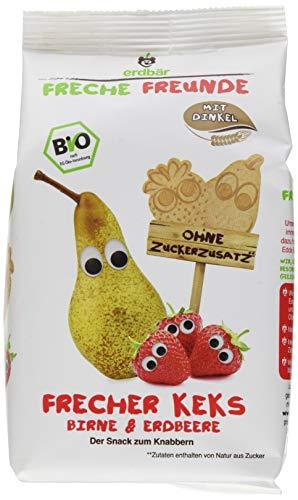 """Freche Freunde Bio Kinder Keks """"Birne & Erdbeere"""", ohne Zuckerzusatz, mit Dinkel, Snack für Kinder & Babys ab 1 Jahr, 7er Pack (7 x 125 g)"""