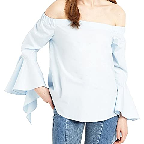 Women Baby Blue Off Should Design Bell Sleeve Plain Cotton Blouse Shirt