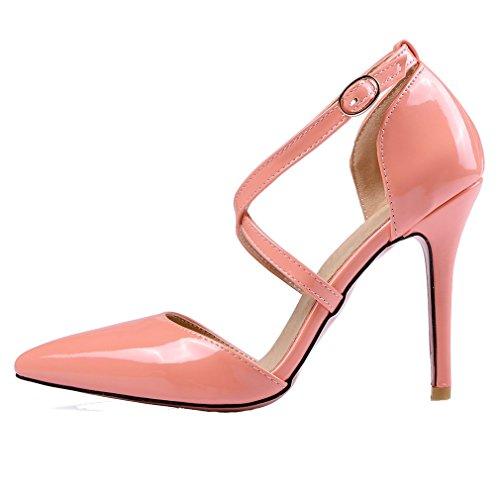 YE Damen Spitze Riemchen High Heels Stiletto Lackleder Pumps mit 10cm Absatz Party Elegant Kleid Schuhe M5tXCFx