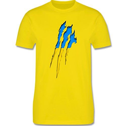 EM 2016 - Frankreich - Ukraine Krallenspuren - Herren Premium T-Shirt Lemon Gelb