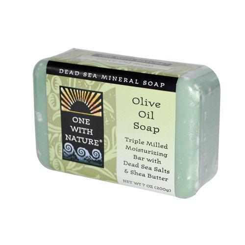 One With Nature Pain de savon hydratant à l'huile d'olive - Avec sels minéraux de la Mer morte et beurre de karité - 200 g