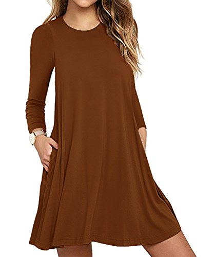 Damen Vintage Langarm Tasche Casual Loose Rock T-Shirt Kleid Brown M