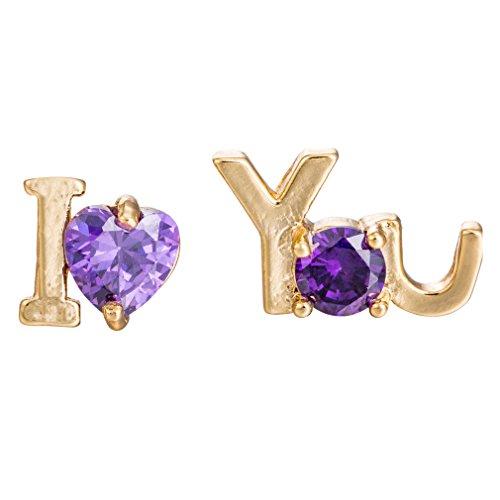 YAZILIND Elegant Ich liebe dich Form Gold überzogen Lila Zirkonia Ohrstecker für Frauen