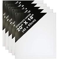 KURTZY 5 Lienzos Pre Estirados Con Cuñas de Madera para Pintura -Set Lienzos Blancos para Artistas - Lienzo en Blanco Estirado para Pintura Acrílica, Obras de Arte al Óleo ,Acuarela - 44,95 x 49,78cm