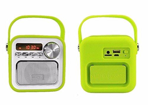 Mini Haut-Parleur Bluetooth avec Radio FM Vert/AUX Bluetooth USB Connexion  Télécommande Horloge Radio de Cuisine Radio de Salle de Bain pour Enfant ...