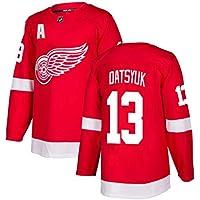Datsyuk # 13 Camiseta de Hockey sobre Hielo de Manga Larga para Hombre Ropa de Deporte de Hockey sobre Hielo Equipo de competición Uniforme de Entrenamiento Camiseta de Jersey Real Rojo S-XXXL-XXXL