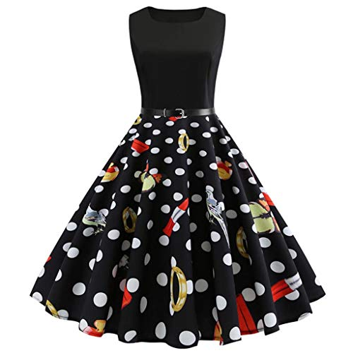 OverDose Damen Urlaub Strand Stil Frauen Vintage Dot Bunte Druck Sleeveless Mesh Patchwork Abend Party Bar Dating Schlank Swing Kleid Rock Dirndl