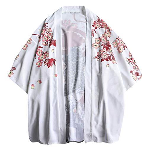 MOTOCO Herren T-Shirt Strickjacke Beiläufige Lose Print Japanische Kimono Jacke Kurzarm Top Jacke Retro Shirt 3/4 Ärmel Langarm/Kurzarm Hemden(L,Weiß-1)