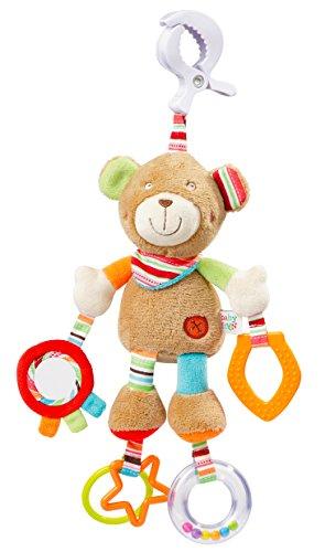 Fehn 091878 Activity-Spieltier Teddy / Motorikspielzeug zum Aufhängen mit Spiegel & Ringen zum Beißen, Greifen und Geräusche erzeugen / Für Babys und Kleinkinder ab 0+ Monaten