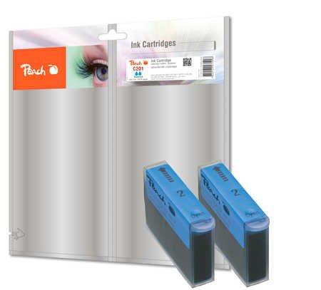 Peach Doppelpack Tintenpatronen cyan kompatibel zu Canon, Xerox, Apple BJI-201 c