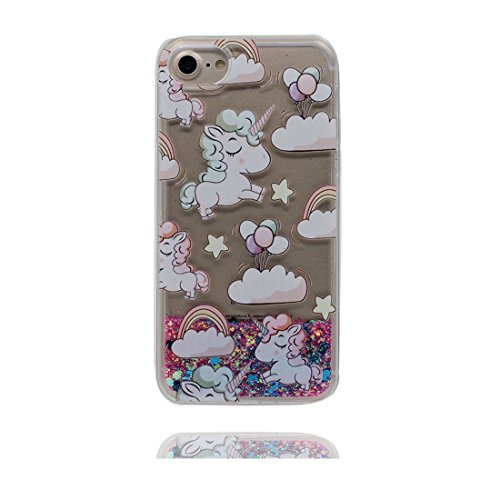 iPhone 7 Coque, Cover étui pour iPhone 7 4.7 pouces, (talon hauts) - Bling Glitter Fluide Liquide Sparkles Flowing Brillante, iPhone 7 Case Shell anti-chocs High Heels & stylet Licorne
