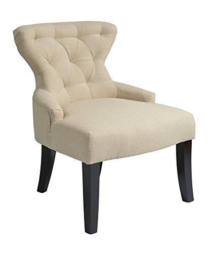 AVE SIX Stuhl, Gebogene Knopfleiste, Beine aus massivem Holz, Samtstoff, Espresso-Finish Sanduhr-Akzent leinen -